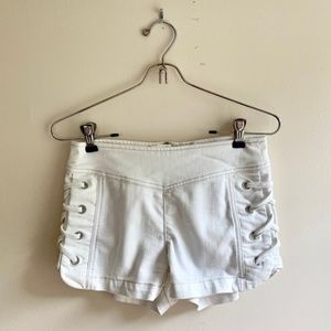 Free People • White Lace Up High Rise Shorts